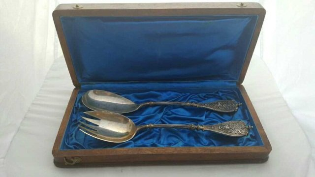 Early Silver Salad Set w Austro-Hungarian