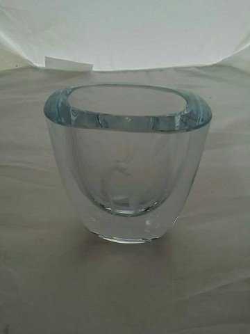 Swedish Glass Vase w Etched Antelope Design
