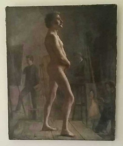 Antique Oil Painting on Canvas Nude Male