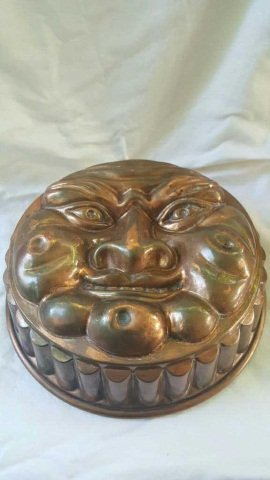 Early Copper Food Mold Moon Face