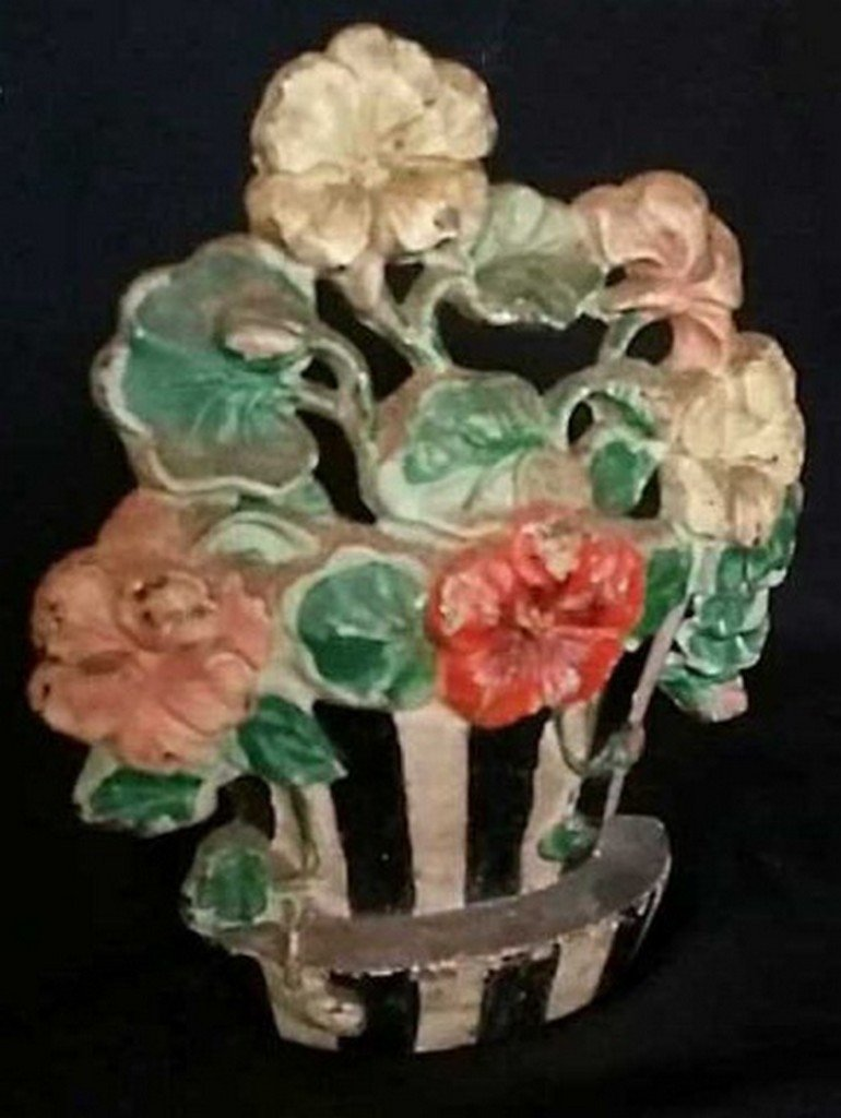 Antique/Vintage Painted Iron Doorstop Flower Pot