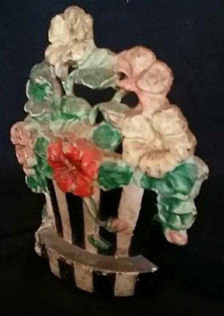 Antique/Vintage Painted Iron Doorstop Flower Pot - 2
