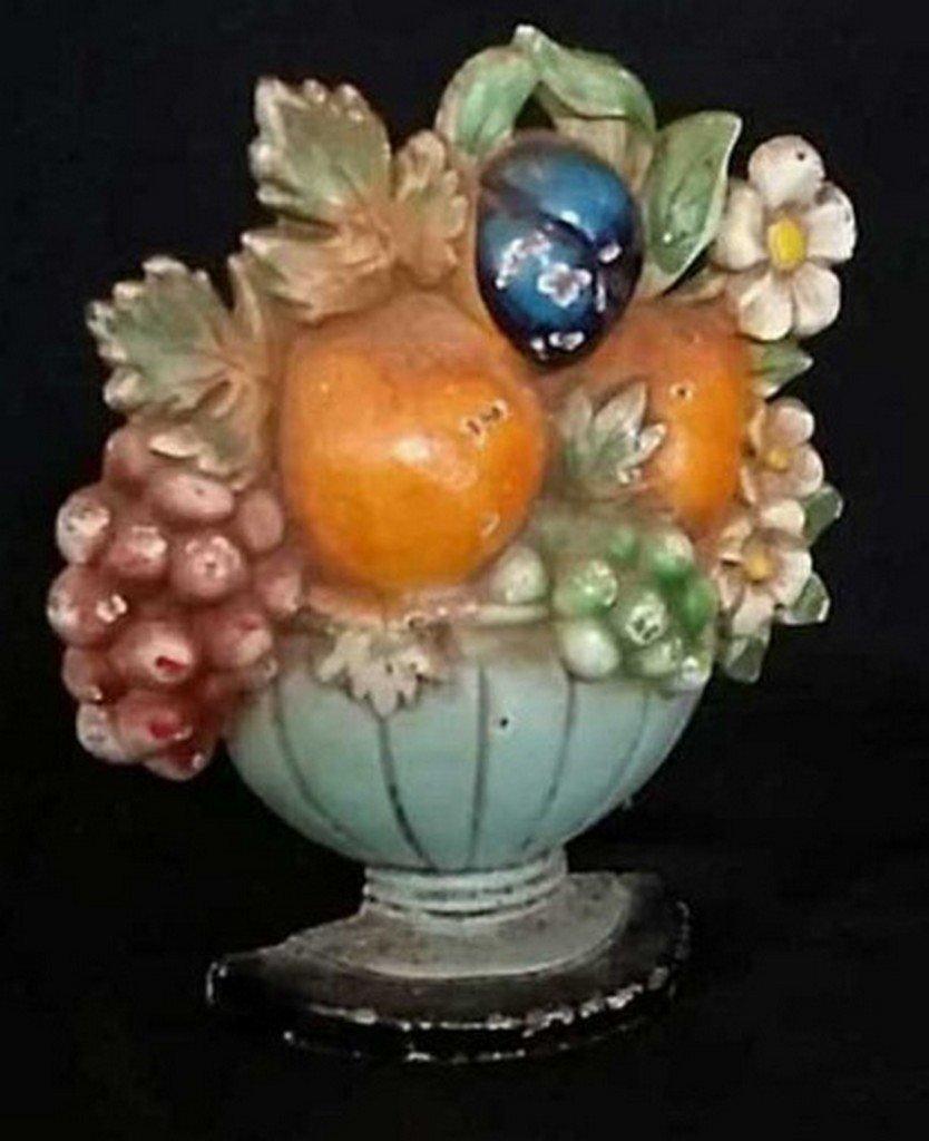 Antique/Vintage Painted Iron Doorstop Fruit Basket