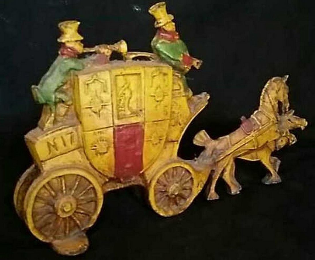 Antique Painted Iron Doorstop Horse & Carriage