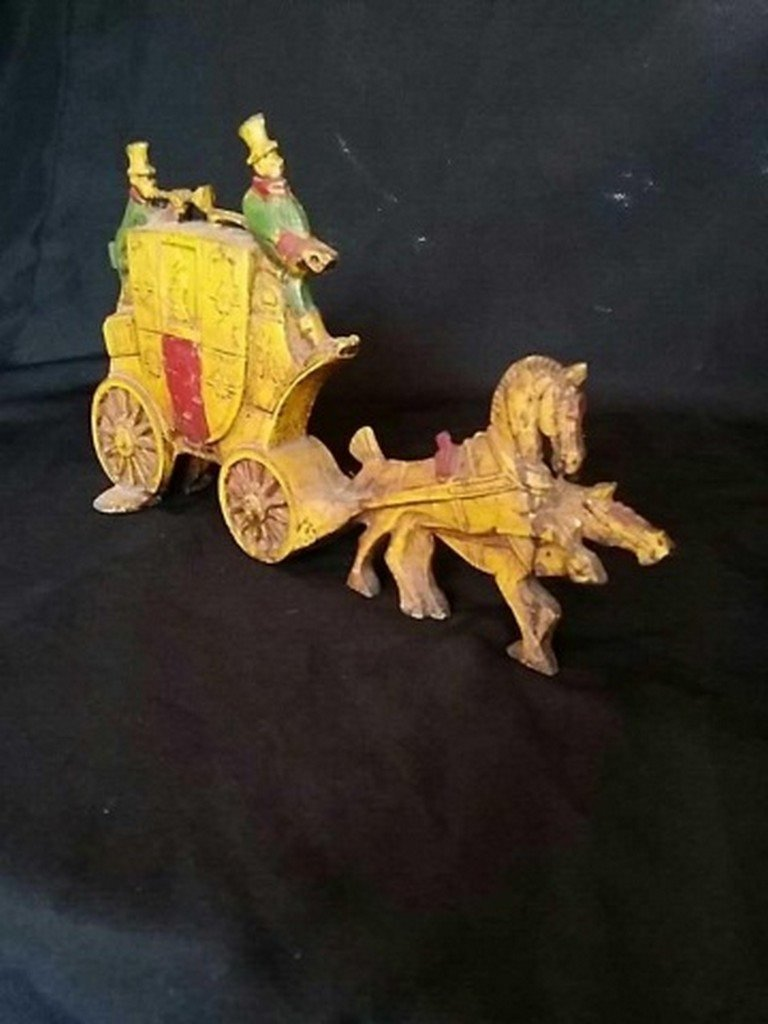 Antique Painted Iron Doorstop Horse & Carriage - 2