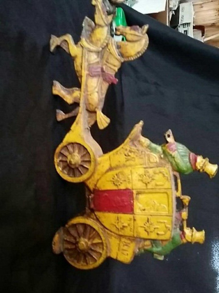 Antique Painted Iron Doorstop Horse & Carriage - 4