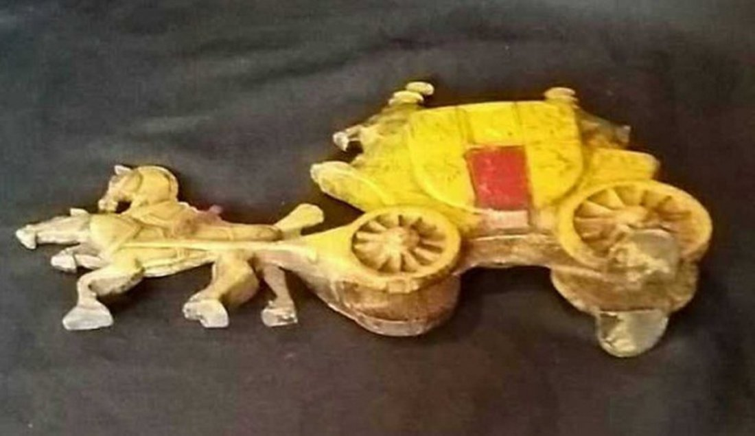 Antique Painted Iron Doorstop Horse & Carriage - 5