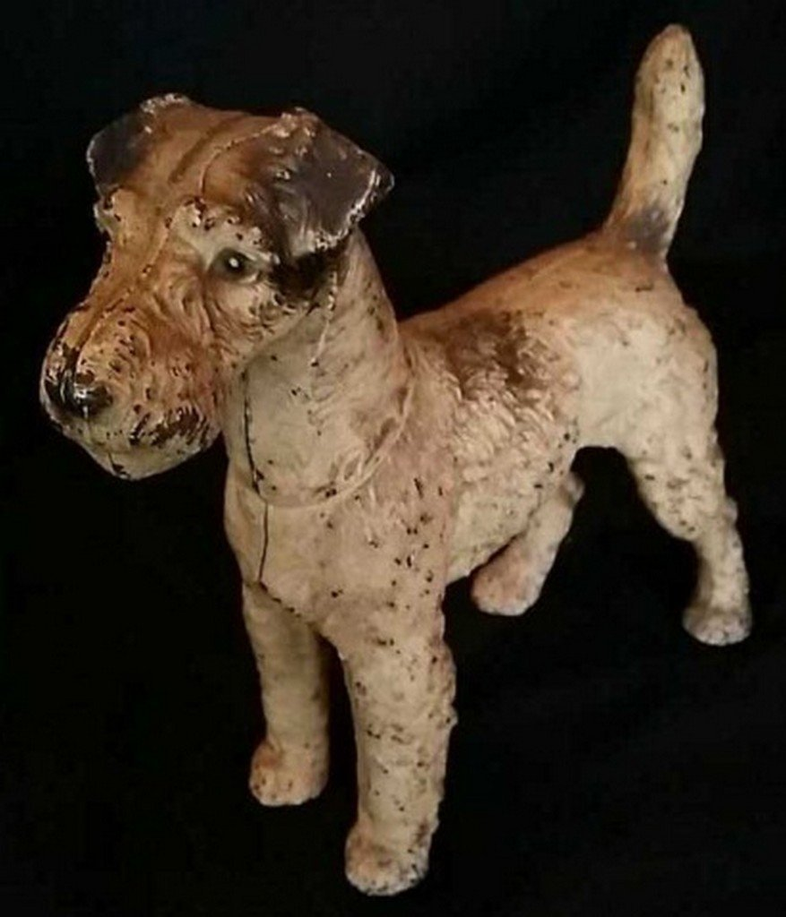 Antique Painted Iron Doorstop Wire Haired Terrier - 2