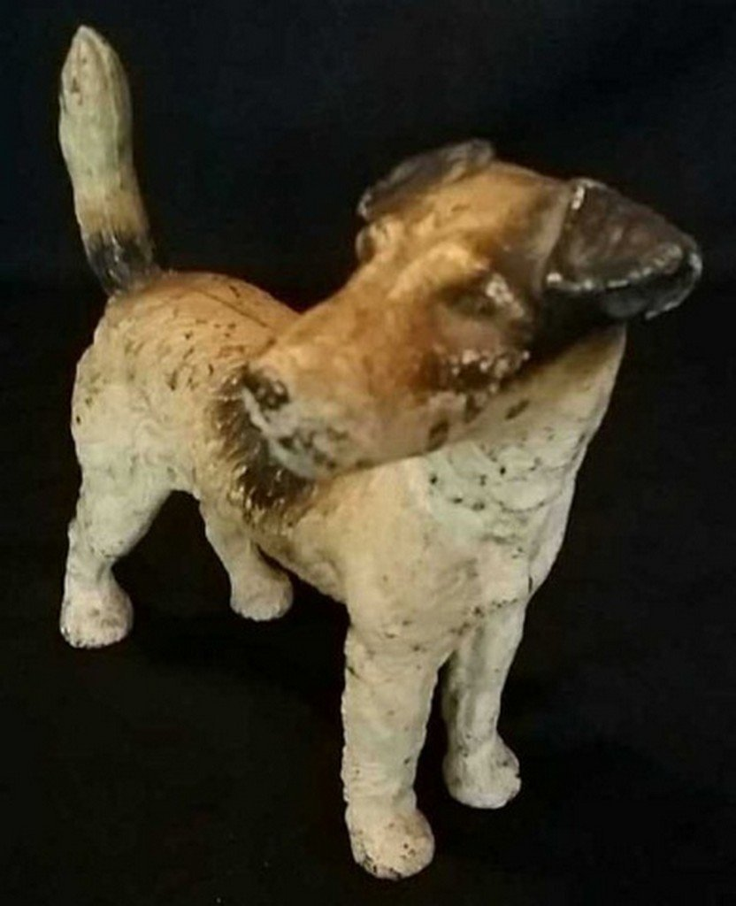 Antique Painted Iron Doorstop Wire Hair Terrier