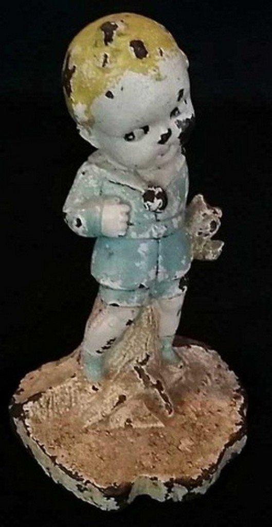Antique Painted Iron Doorstop Boy w/ Teddy Bear
