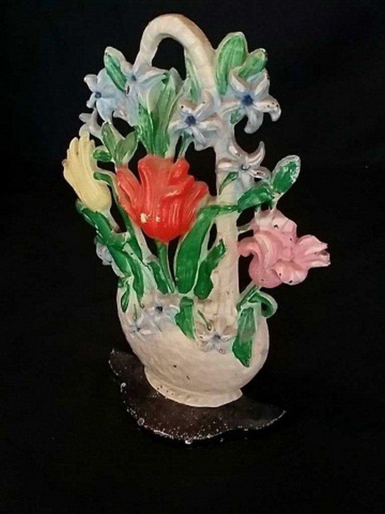 Vintage Painted Iron Doorstop Basket of Flowers - 2