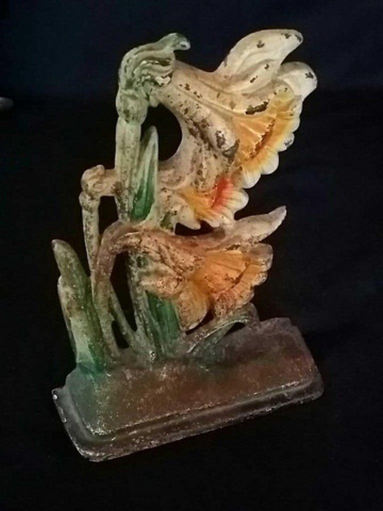 Vintage Painted Iron Doorstop of Lillies