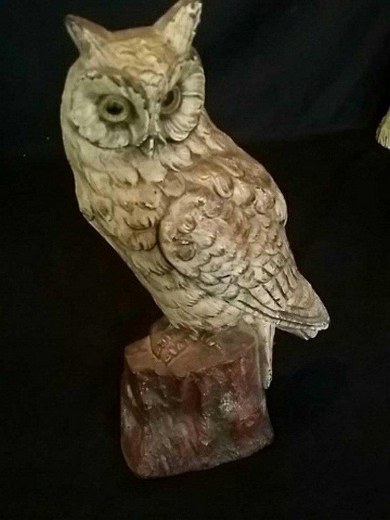 Vintage Painted Iron Doorstop of Owl on Stump