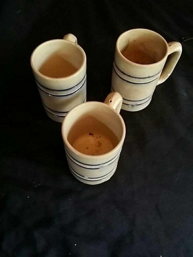 Lot of Three Antique Whites Utica Stoneware Mugs - 3