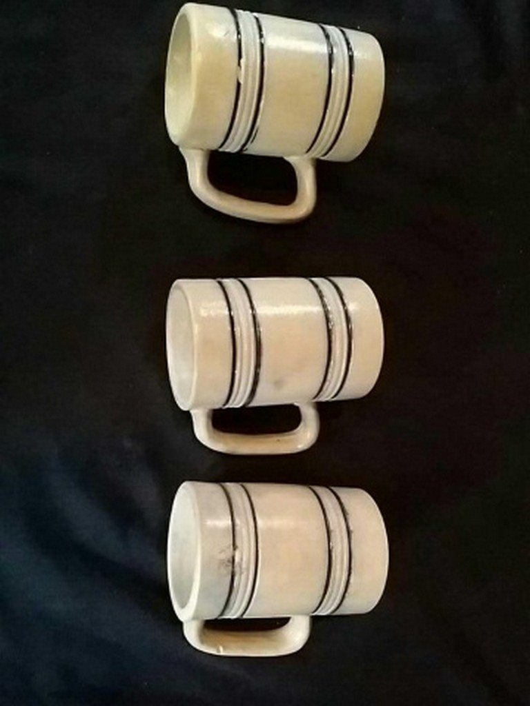 Lot of Three Antique Whites Utica Stoneware Mugs - 4
