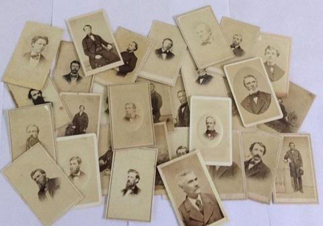 Lot of 27+ Antique Mostly CDV Photographs of Men
