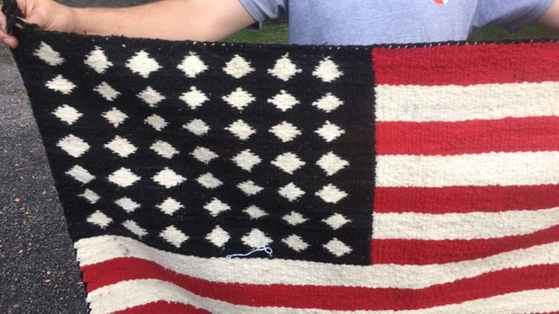 Vintage Navajo Rug In The Form of an American Flag - 2
