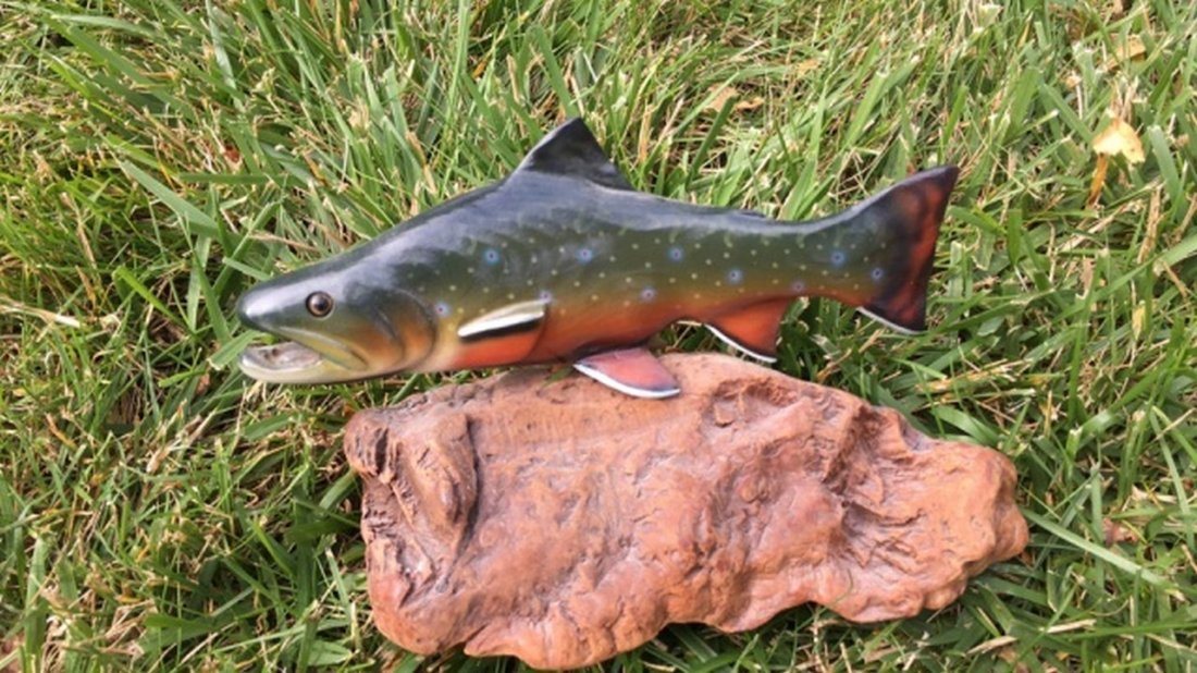 "Hand Painted Fish Carving Signed ""B. Reel"""