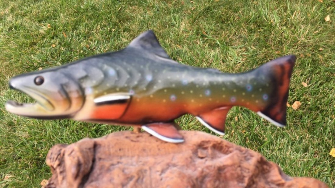 "Hand Painted Fish Carving Signed ""B. Reel"" - 3"