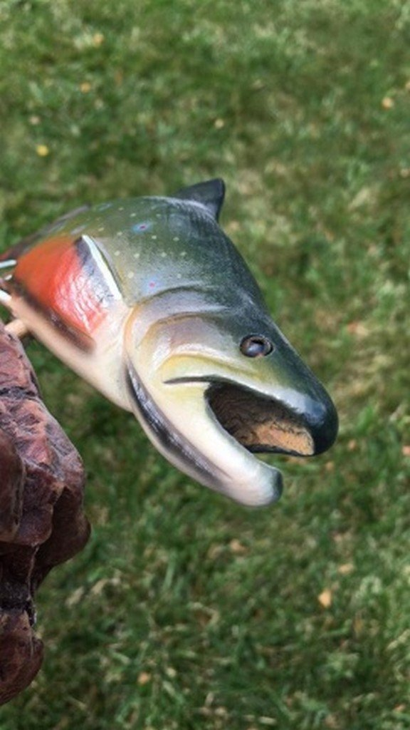 "Hand Painted Fish Carving Signed ""B. Reel"" - 4"