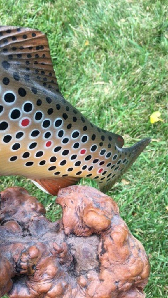 """HandPainted Scultpure of Brown Trout """"B. Berry"""" - 5"""