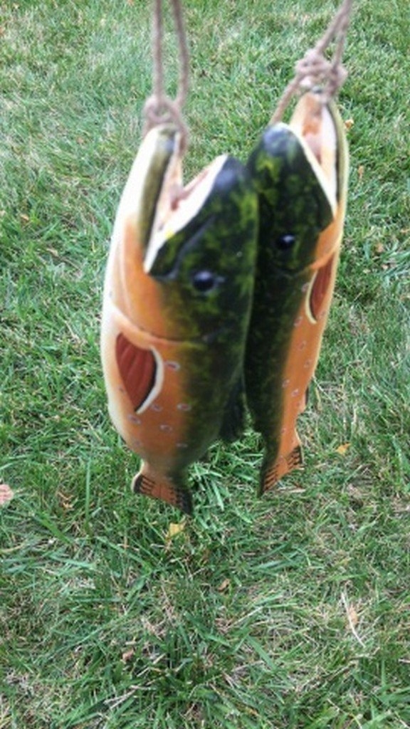 Pair of Hand Carved & Painted Wood Fish Figures - 4