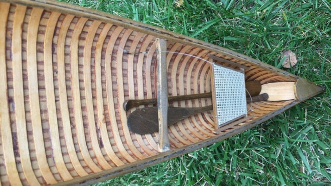 Vintage Wooden Model Canoe - 2