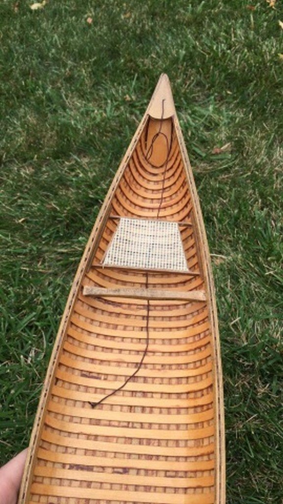 Vintage Wooden Model Canoe - 3