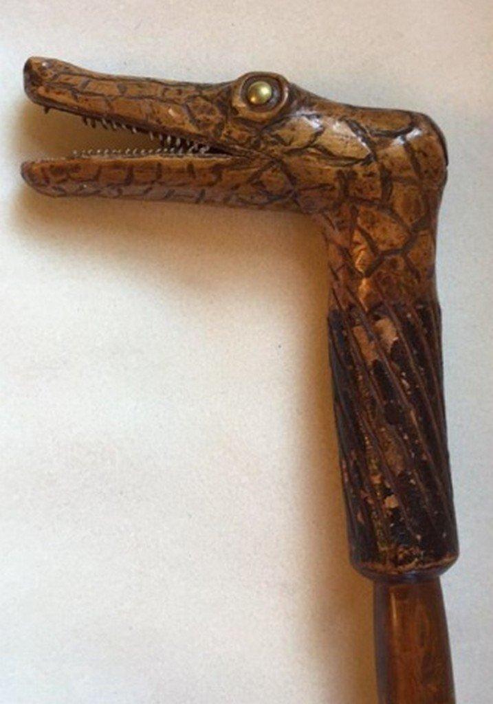 Antique Carved Alligator Head Cane