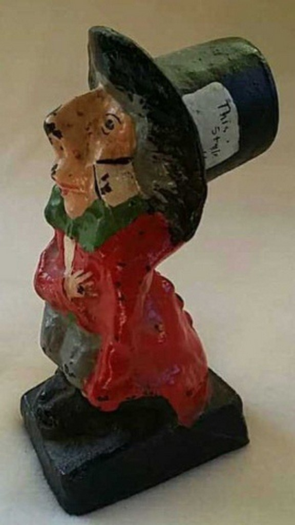 Antique Painted Cast Iron Doorstop Mad-Hatter - 2