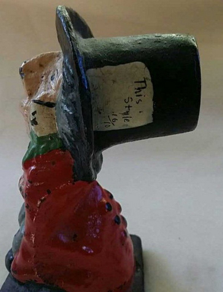 Antique Painted Cast Iron Doorstop Mad-Hatter - 3
