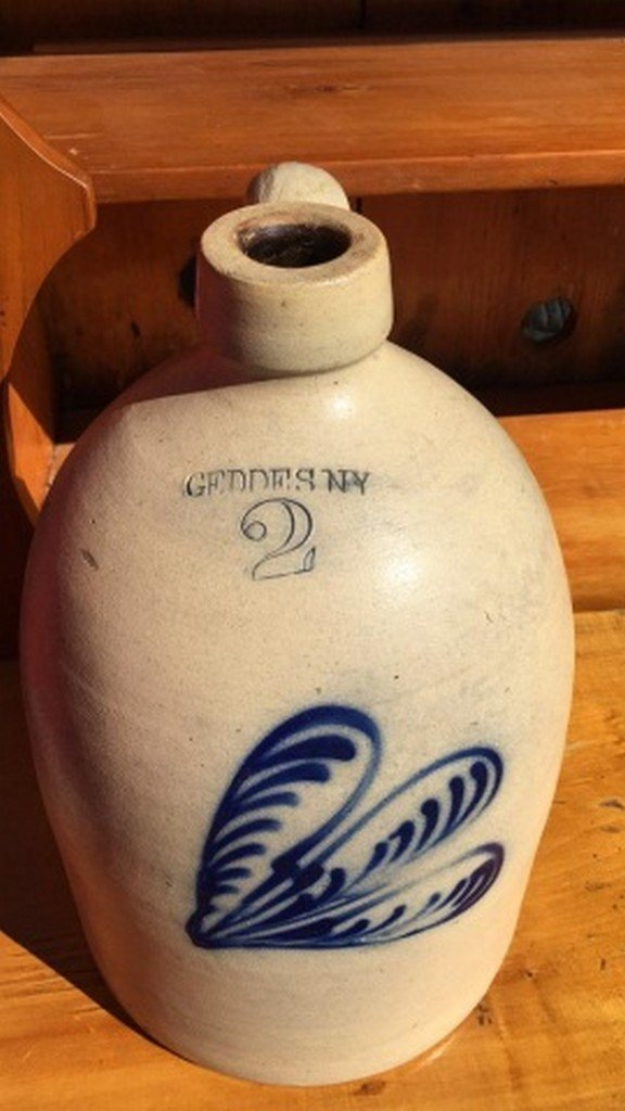 Antique Geddes Stoneware Jug w/Blue