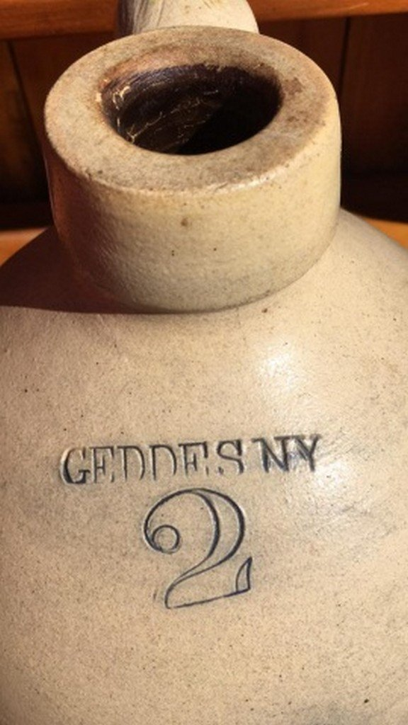 Antique Geddes Stoneware Jug w/Blue - 4