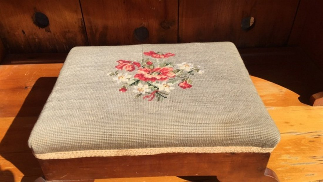 Antique Cherry Footstool w/Needlework Seat