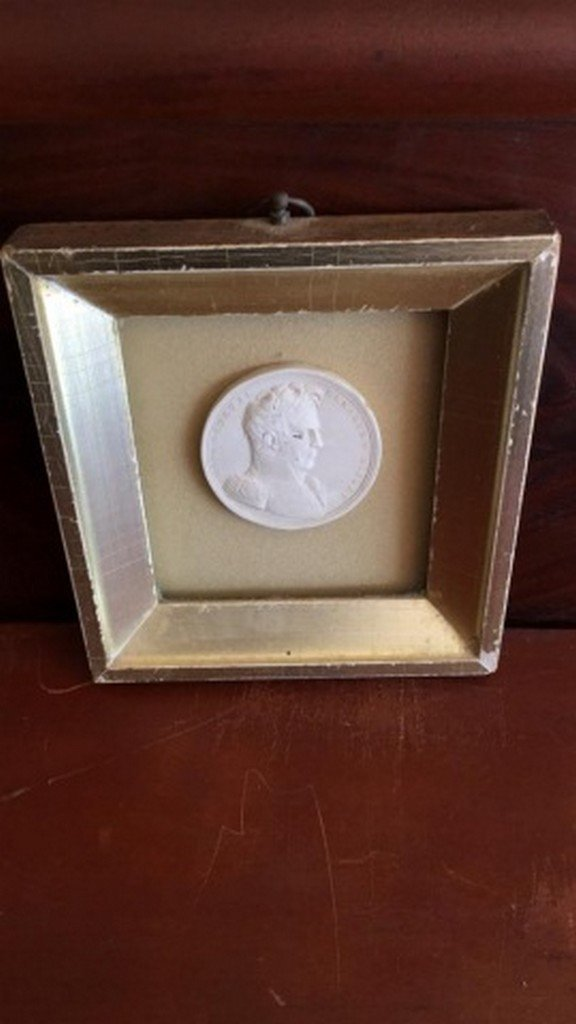 Antique Plaster Plaquette in Shadow Box Frame - 2