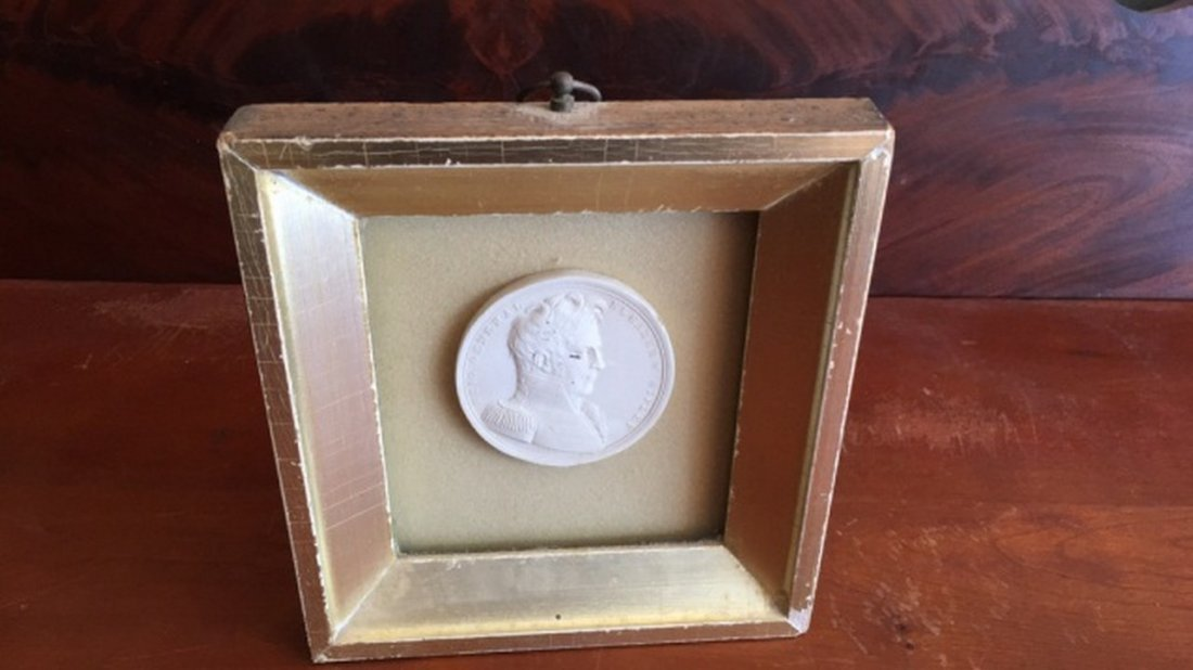 Antique Plaster Plaquette in Shadow Box Frame - 4