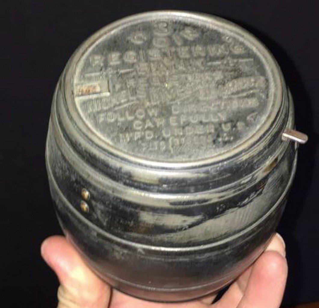 Antique Barrel Form Registering Bank