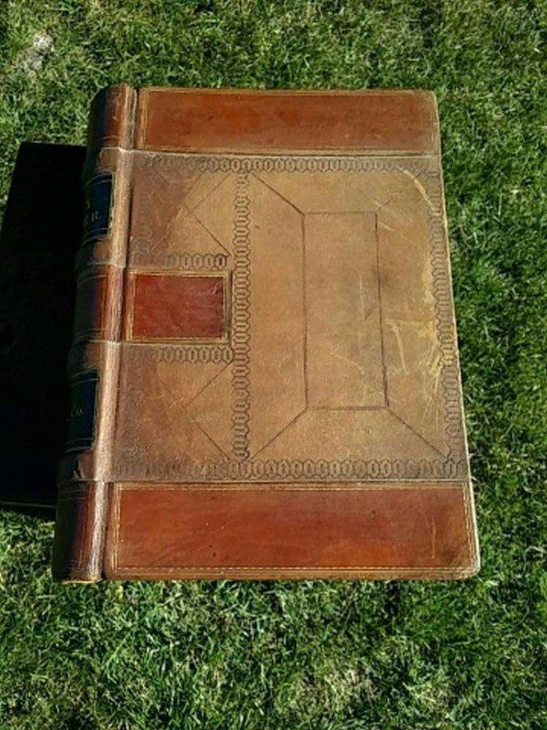 Antique Leather Ledger Book - 2