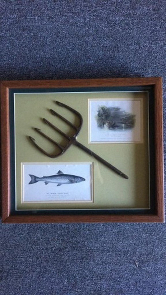 Antique Iron Fish Spear in Shadowbox Framed