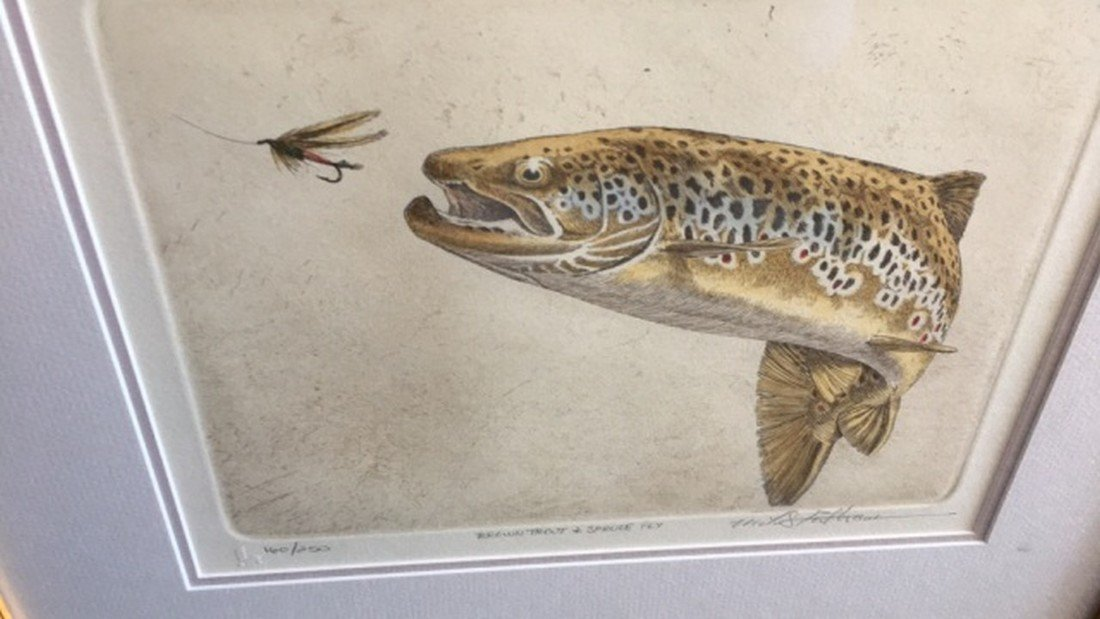 """Mike Stidham Lithograph Print """"B. Trout & Sp. Fly"""" - 3"""