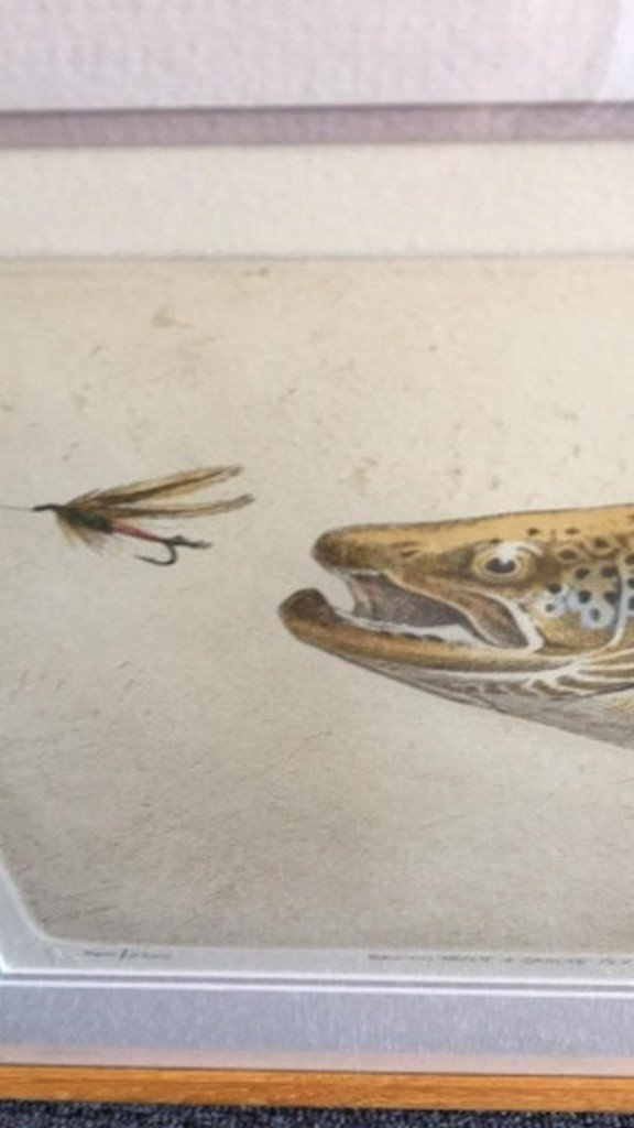 """Mike Stidham Lithograph Print """"B. Trout & Sp. Fly"""" - 5"""