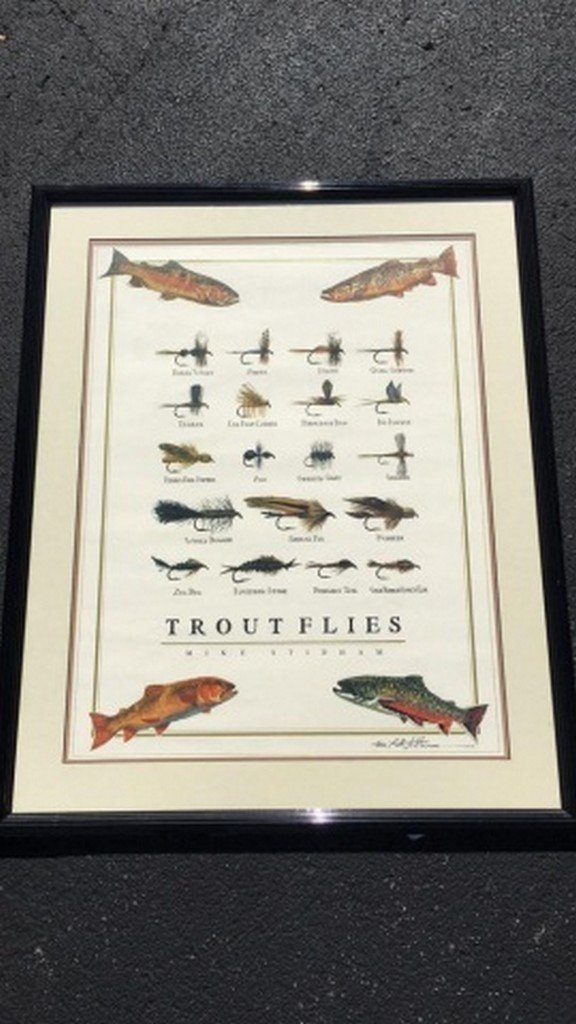 "Mike Stidham Original Signed Print ""Trout Flies"""