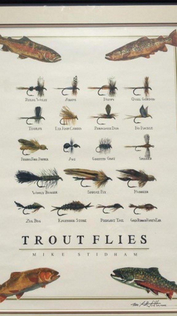 "Mike Stidham Original Signed Print ""Trout Flies"" - 2"