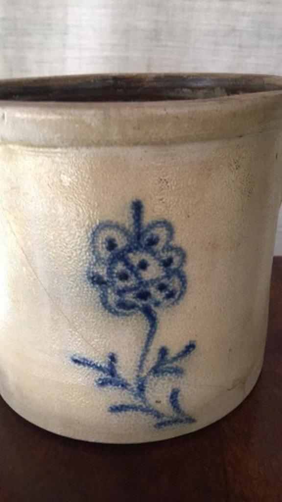 Antique Salt-Glaze Stoneware Folk-Art Blue Crock - 2