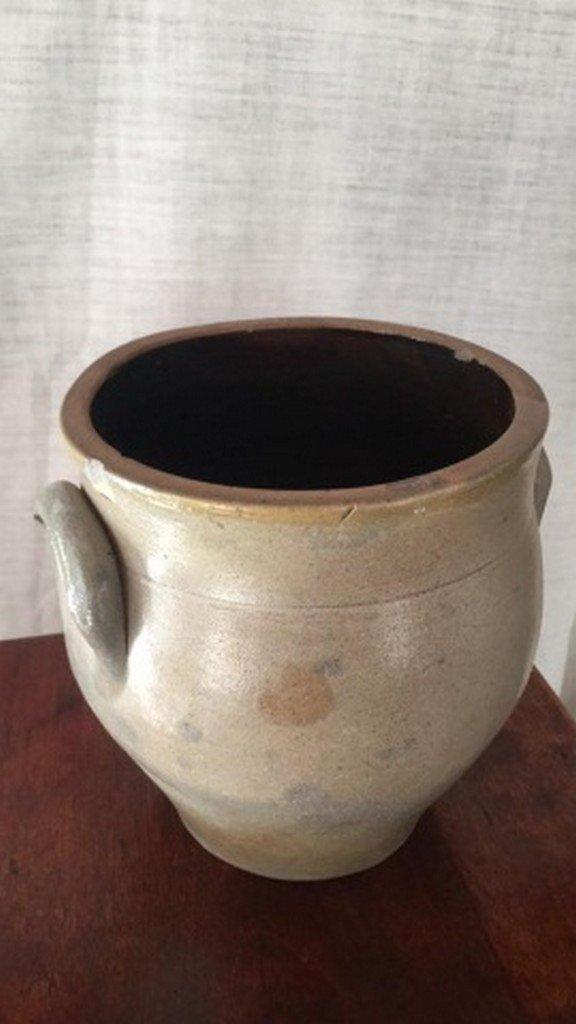 Antique Salt-Glaze Stoneware Folk-Art Blue Crock - 3