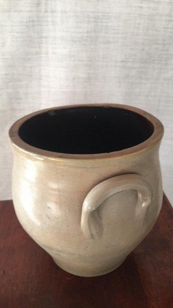 Antique Salt-Glaze Stoneware Folk-Art Blue Crock - 4