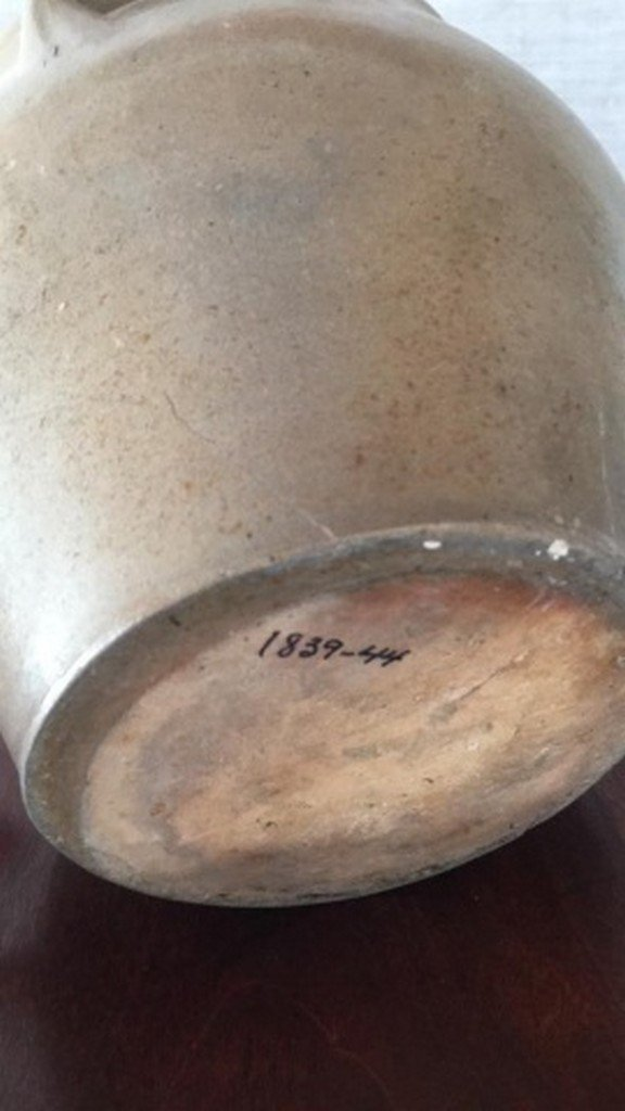 Antique Salt-Glaze Stoneware Folk-Art Blue Crock - 5