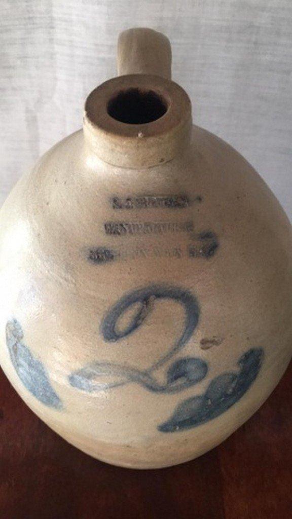 Antique Salt-Glaze Stoneware Folk-Art Blue Jug