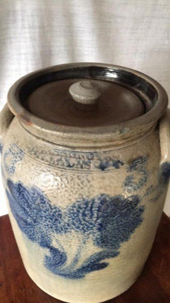 Antique Salt-Glaze Stoneware Folk-Art Blue Crock