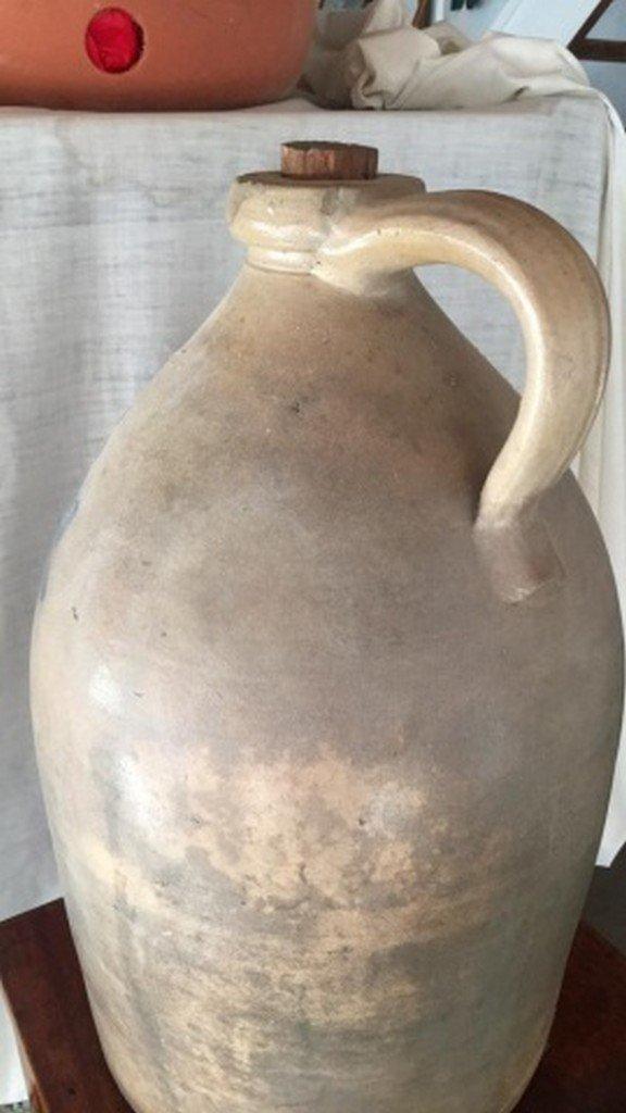 Antique Salt-Glaze Stoneware Folk-Art Blue Jug - 3